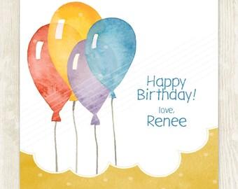 Balloon Favor Tag, Balloon Gift Card, Balloon Gift Tag, Party Favor Tag, Personalized Tag, Enclosure Card, Printable Balloon, Kids Favor Tag