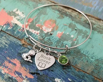 Book Worm - Book Lover Bracelet - Book Bracelet - Expandable Charm Bracelet  Initial Bracelet - Book Lover Gift - Librarian Jewelry Bracelet
