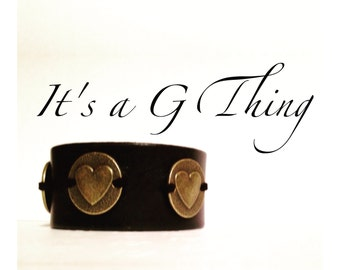 Black Leather Heart Cuff