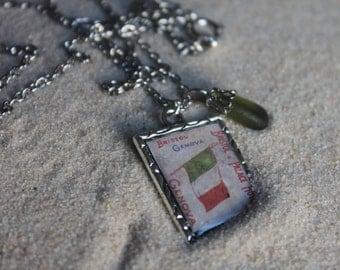 Genova Italy flag pendant necklace & authentic Italian sea glass from the Italian Riviera Mediterranean Sea, Italian jewelry, beach jewelry