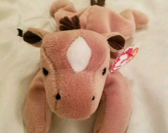 Ty Beanie Babies DERBY Horse with coarse mane & white star on head RETIRED