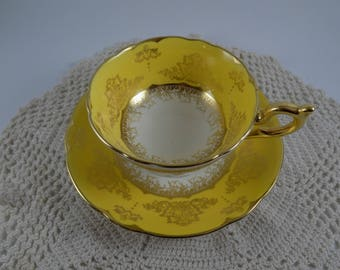 Vintage Coalport Gorgeous Yellow/Gold China Teacup 1950's