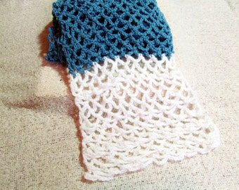 Crochet Scarf - Cresting Wave Blue and White Scarf with White Stone Beads