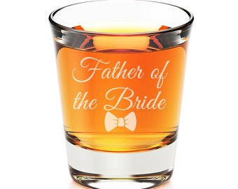 2 pcs Shot Glass - Father of the Bride and Father of the Groom Bowtie  Set-  SGH5057-ED16X