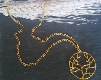 Long Gold Necklace, Pendant Tree of Life, Pendant Necklace, Chain Necklace, Gold Necklace, Gold Pendant, Tree of Life.