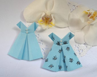 Origami blue robes, for creating material, clothes made of paper, paper clothes, miniature clothes, pale blue dress.