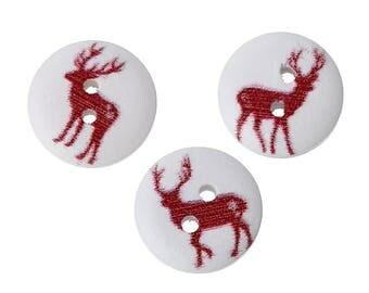 100 buttons, deer, forest, button, wooden button, wooden, 14 mm, 43171