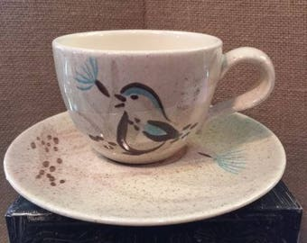 """Redwing pottery  """"Bob White"""" cup and saucer"""