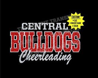 Custom Team, Mascot Cheerleading Glitter Iron-On Transfer! - Bling Vinyl Transfer, Applique - DIY Sparkle Shirt! - Team School Spirit Wear!