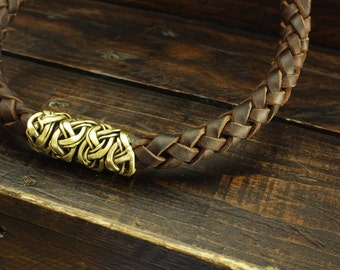 Leather brass necklace