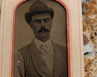 "Unibrow:  Antique Tintype Photograph of Gentleman from Manning""s Gallery"