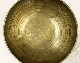 Hand Hammered Hand Etched Mantra Flower Singing Bowl/Gong With Stick and Cushion