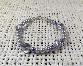 Purple pearl disc bracelet