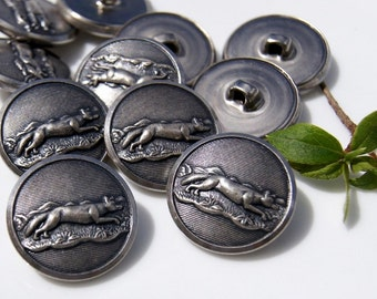 Vintage Metal Buttons Embossed Fox Animal Nature Silver Buttons 8 pieces per bag
