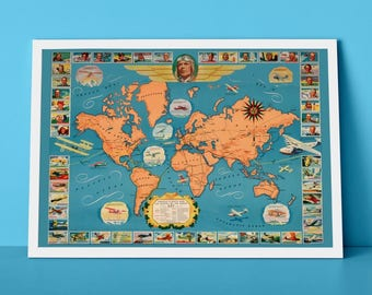 Famous Flights and Air routes of The World | Aeronautical Chart of the World, Fabulous Gift for any Flight Fan!