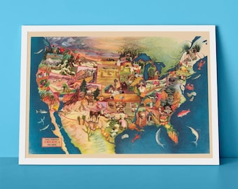 Paul Sample's America, its soil | Pictorial Map of The United States of America | Land Uses Chart of America
