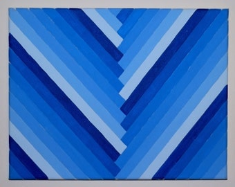 Blue Diagonal Monochromatic Gradient Painting