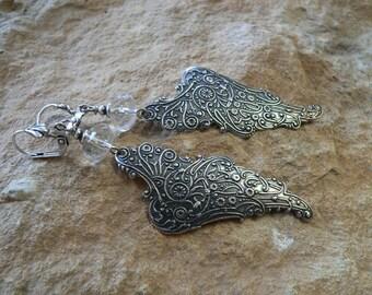 Earrings-beflügelte times Silver earrings, fantasy, fairy wings, Angel, for women, magic, Crystal, Gothic, fairies, Elves