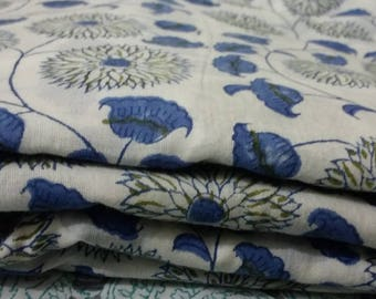 10 yard Indian HandBlock Printed Cotton Fabric Beautiful Dressmaking Running Cotton Soft Print soft Sewing garment dress Craft Home interior