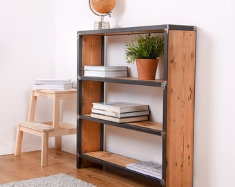 Reclaimed Wood Bookcase, Reclaimed Shelving Unit, Rustic Bookcase, Reclaimed Bookcase, Industrial Bookcase, Steel And Wood Bookcase, Book