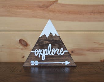 Explore Arrow Stained Mountain Wood Sign with Snow Handmade Sign Decoration