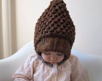 Knit Baby Toddler Pixie Bonnet Hat, 100% Merino Wool, Hand Dyed, Ethically Sourced Yarn