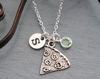 Pizza Slice Necklace, Personalized Pizza Slice Necklace, Silver Pizza Necklace, Letter Birthstone Necklace, Pizza Necklace, Friendship Gifts