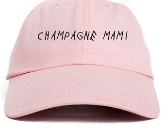Champagne Mami Unstructured Baseball Dad Hat Cap New - Pink w/ Black