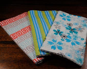 Teal Flowers, blue green stripes and coral grey print, Set of 3 Snuggle Flannel and Chenille Washcloths, Ultra soft, Great baby shower gift