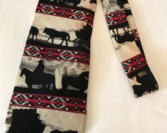 Cowboy Silhouette Tie Silk Designed By Ralph Marin Made in the USA Rockmount Ranch Wear