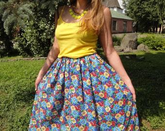 """Cotton skirt """"Summer flowers"""""""