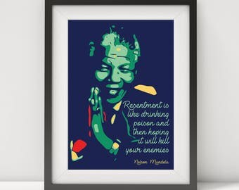 Nelson Mandela, Nelson Mandela print, Nelson Mandela poster, Nelson Mandela quote, Mandela art, quote poster, typographic poster