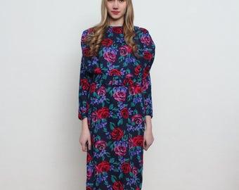 Vintage Blue With Flowers Midi Dress/ Size 40