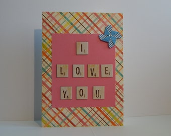 I Love You Card, Pink and Multicolored
