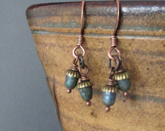 Acorns...pearl dangle earring