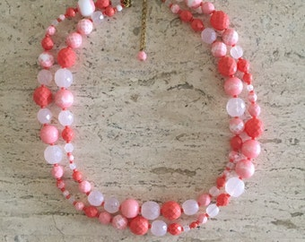 Lovely Beaded Necklace in Coral Hues; beaded jewelry, beaded necklace, pink necklace, orange necklace, pink jewelry, beads, necklace,