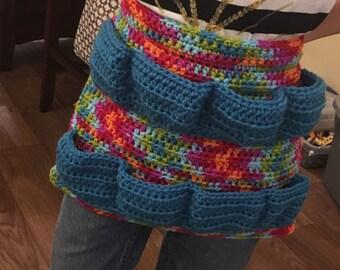 Crocheted egg gathering apron - child size