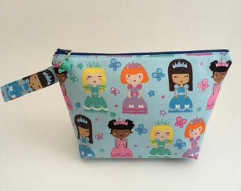 Princess fabric, Colorful cotton, Cosmetics bag, Toy bag, Crayon and marker case, Travel case, Make-up bag, Jewellery bag