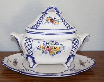 Vintage, Hand Painted Soup Tureen with Underplate from La Bonne Soup