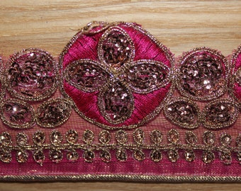English Pink embroidered indian ribbon with trim