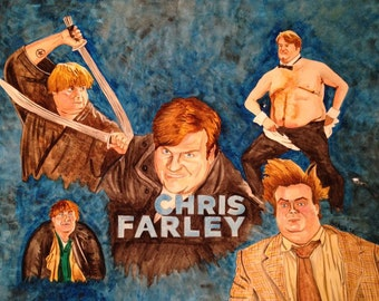 Chris Farley Montage - Portrait Painting - Poster Print