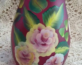 Pink hand painted vase.