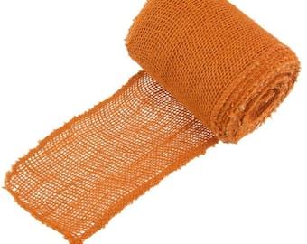 "Orange Burlap Ribbon 5 1/2"" x 10 Yards Hemp Jute"