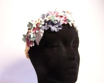 HEADDRESS WREATH of fabric flowers