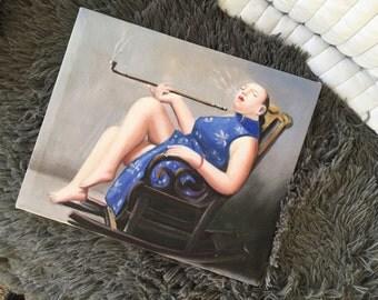 Smoking women painting