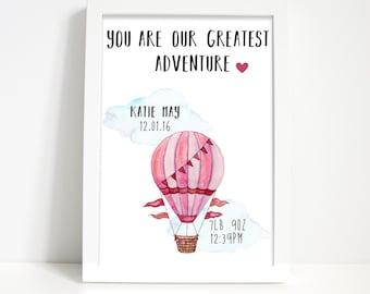 Hot air balloon print, Personalised print, Nursery wall art, Nursery print, Newborn gift, Baby print, Christening gift, Bedroom decor