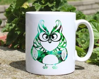 Cool owl mug - Bird mug - Colorful printed mug - Tee mug - Coffee Mug - Gift Idea