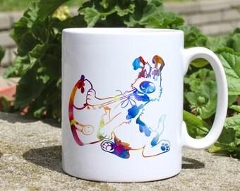 Dog with shoe mug - Cute dog mug - Colorful printed mug - Tee mug - Coffee Mug - Gift Idea