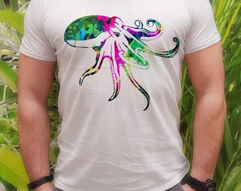Octopus t-shirt - Sea tee - Fashion men's apparel - Colorful printed tee - Gift Idea