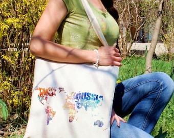 Continental map tote bag -  Cool shoulder bag - Fashion canvas bag - Colorful printed market bag - Gift Idea